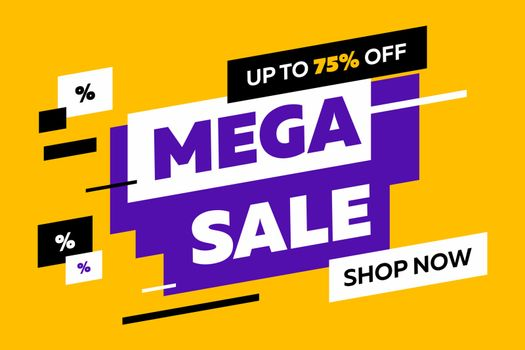 Abstract diagonal shapes for sale flyers on yellow background. Dynamic shapes and lines, Mega Sale, Shop now text. Vector illustration for advertising design, banner and poster templates