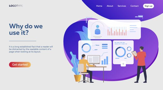 Analysts studying reports. Men constructing graphs, analyzing diagrams, charts vector illustration. Business concept for banner, website design or landing web page