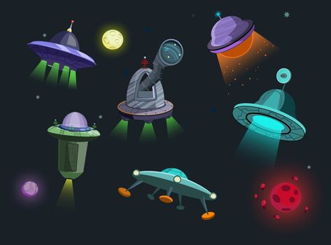 Spaceships set illustration. Flying saucers on black cosmic background with moon and stars. Can be used for topics like space, science, non-fiction