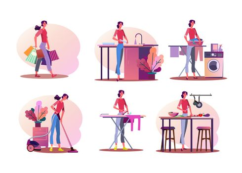 Housework illustration set. Woman doing shopping, washing dish, cooking, ironing, cleaning apartment. Household concept. Vector illustration for banners, posters, website design