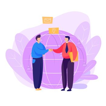 Partners shaking hands landing page
