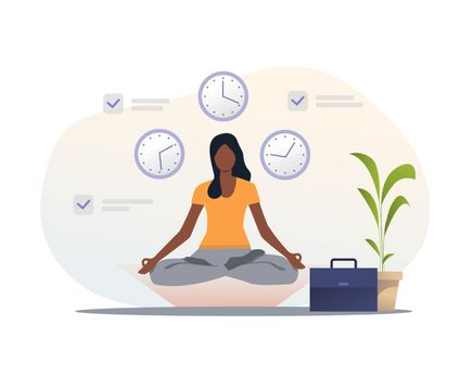 Woman in yoga apparel meditating at workplace. Yoga, lotus position, clock, briefcase. Time management concept. Vector illustration for presentation slide template or website design