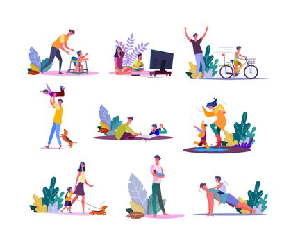 Set of parents enjoying parenting and walking with children. Fathers and mothers people playing, painting, doing sports together with daughters and sons kids. Family leisure flat vector illustration