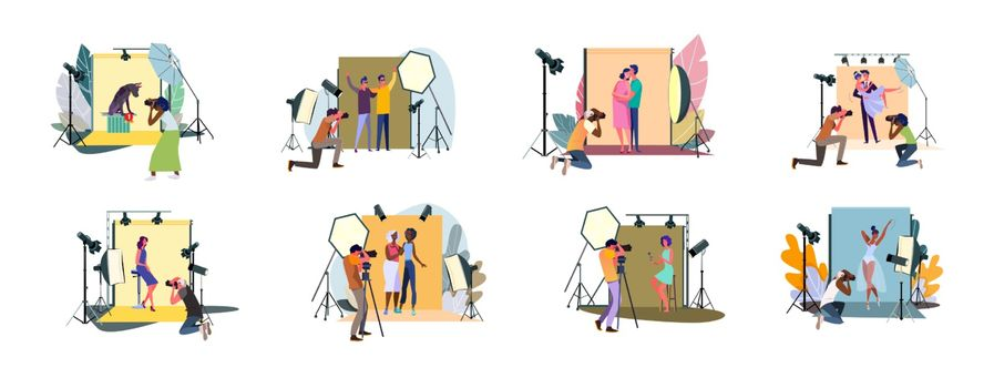 Set of photographers taking photos and shooting people in studio. Men and woman models posing in professional photography studio with cameras and light tripods. Photo session flat vector illustration