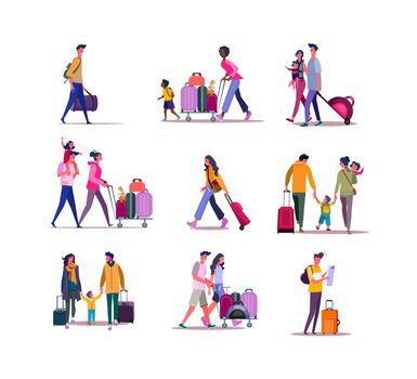 Set of travelers walking with luggage