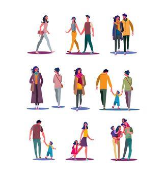 Walking people set