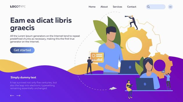 People working on laptops and organizing workflow. Laptop, time management, technology flat vector illustration. Workflow concept for banner, website design or landing web page