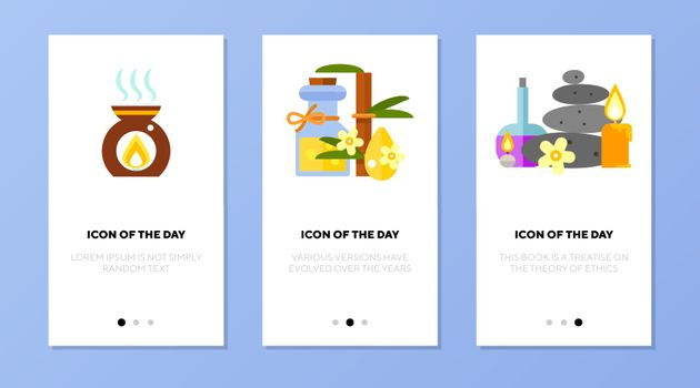 Spa things icon set. Aroma lamp, oil, stones, candles isolated sign. Spa salon, wellness, relaxation concept. Vector illustration symbol element for web design