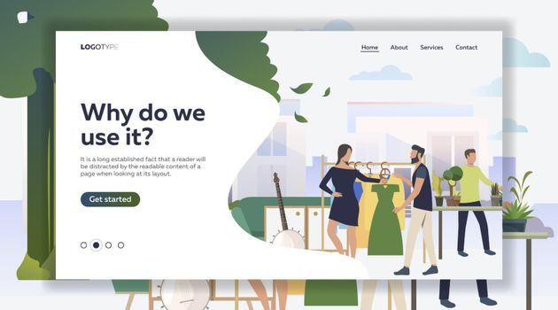 Woman and man choosing dress. Shopping, banjo, sofa, tree, plant, sample text. Marketing concept. Vector illustration for poster, presentation, new project