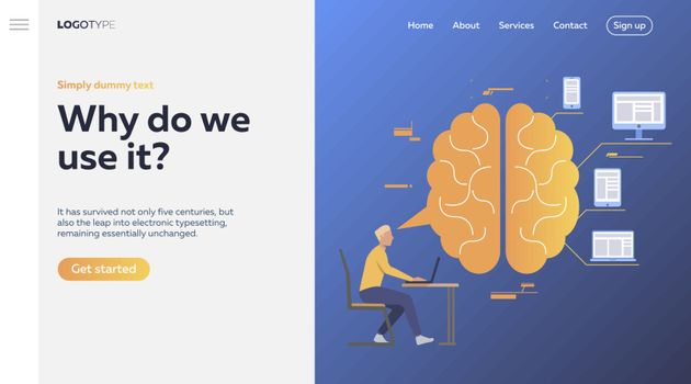 Worker analyzing efficiency. Brain, devices, infographics. Efficiency concept. Vector illustration can be used for topics like business, work, time management
