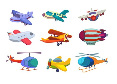 Air transportation set. Collection of planes and helicopters. Can be used for topics like traveling, airport, aviation