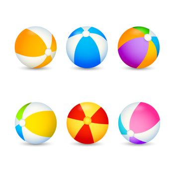 Colorful beach ball set. Inflatable balls for outdoor games. Can be used for topics like recreation, activity, fitness