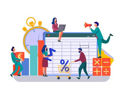 Accounting app vector illustration. Professionals working on financial reports, analyzing data sheet. Team of accountant using bookkeeping software