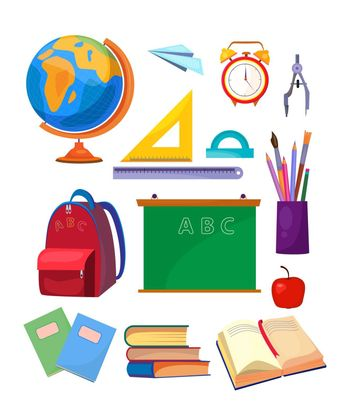 School subjects set. Collection of school supplies. Can be used for topics like education, class, stationary