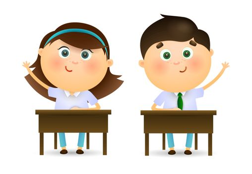 Schoolchildren raising hands at lesson. Cartoon kids sitting at desks and ready to ask teachers question. Can be used for topics like education, studying, school