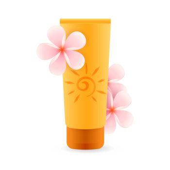 Sunscreen product with pink flowers