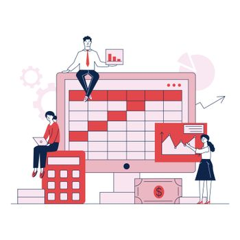Preparation for bookkeeping or annual report vector illustration. Accountants making analyses, calculations, and balance sheet with software concept for presentation