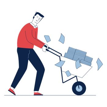 Sad employee wheeling cart with papers. Office worker with piles of reports flat vector illustration. Paperwork, overwork concept for banner, website design or landing web page