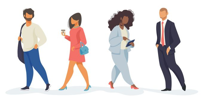 Set of walking people. Multiethnic citizens carrying bags, drinking coffee, using tablet. Flat vector illustrations. Diversity, city life concept for banner, website design or landing web page