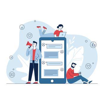 Social media marketing. People using gadgets, chatting online, shouting at megaphone flat vector illustration. Internet, business, network concept for banner, website design or landing web page