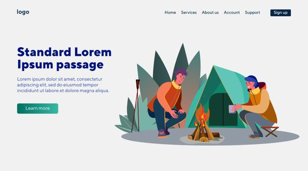 Man and woman sitting near fire. Tent, outdoors, story telling flat vector illustration. Leisure and active lifestyle concept for banner, website design or landing web page