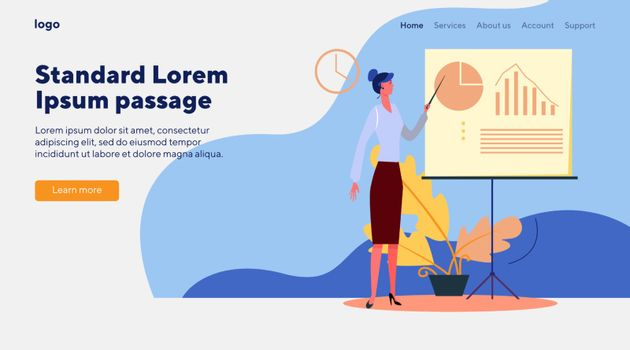 Manager presenting report. Company representative pointing at diagram on white board flat vector illustration. Presentation, analysis concept for banner, website design or landing web page