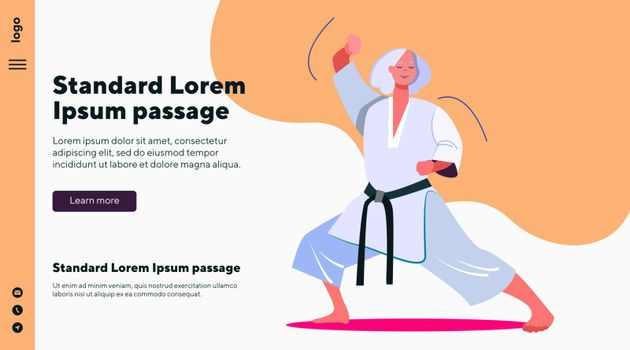 Old martial arts teacher doing demonstration. Fight, sensei, class flat vector illustration. Sport and teaching concept for banner, website design or landing web page