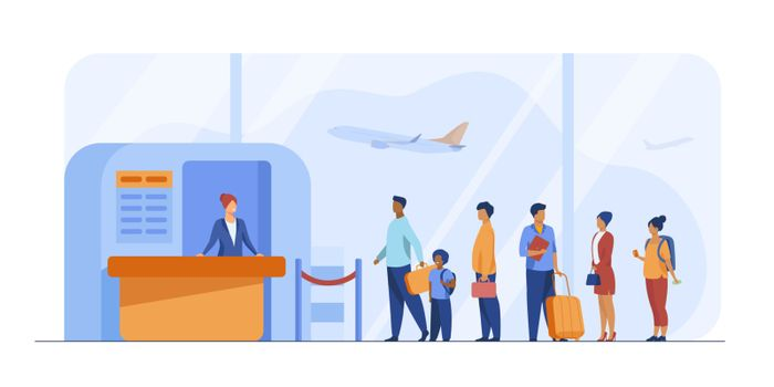 Airport queue vector illustration. Line of tourists standing at check in desk. Flight passengers waiting for boarding to plane in departure area