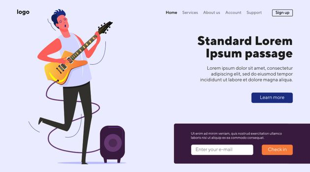 Young musician singing and playing electric guitar. Guitar player practicing skills flat vector illustration. Music performance, music instrument concept for banner, website design or landing web page