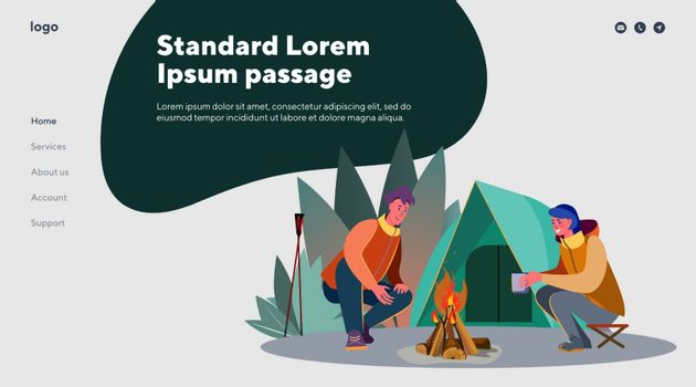 Young man and woman camping. Outdoors, tent, fire, chatting flat vector illustration. Leisure and active lifestyle concept for banner, website design or landing web page
