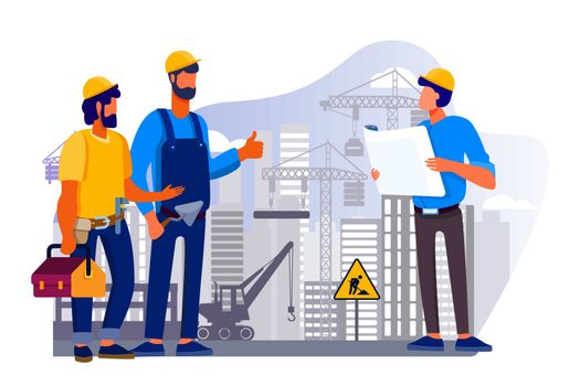 Engineers team discussing issues at construction site flat vector illustration. Foreman looking at construction project plan. Building and engineering concept. Machinery and crane on background
