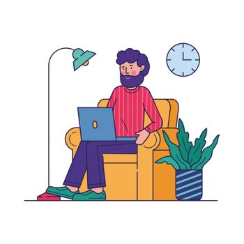Freelance worker doing work via laptop vector illustration. Happy employee working at home office sitting in armchair. Distance working and remote workplace concept.