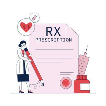 Pharmacist signing drug prescription flat vector illustration