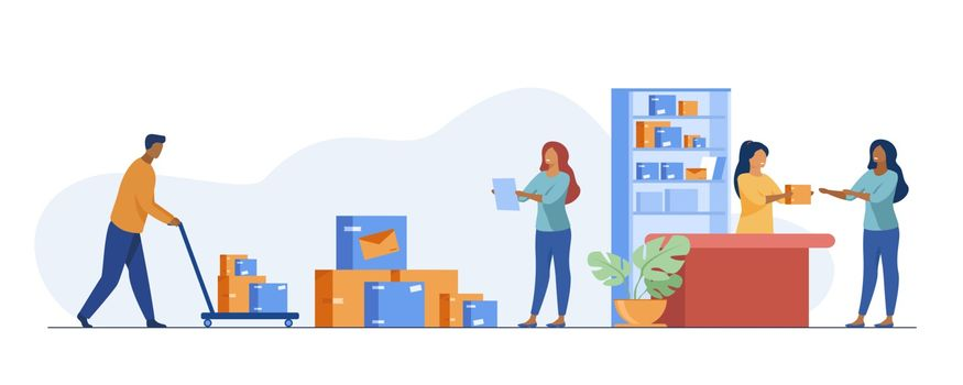 Postman giving parcel to customer in post office. Courier removing boxes from handcart. Vector illustration for shipping, delivery, logistic service concept