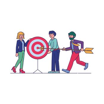 Successful team carrying arrow to aim. Business professional hitting target together. Vector illustration for challenge, goal, achievement, teamwork, business, marketing, strategy concept