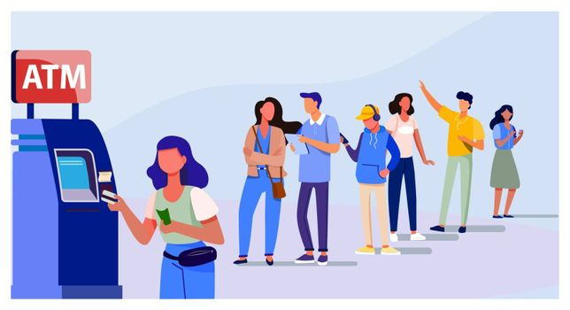 Queue of people standing for using ATM. Bank customer inserting credit card to slot for transaction. Vector illustration for business, banking, finance concept