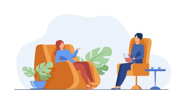 Woman visiting psychologist