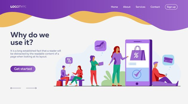 Customers with smartphones shopping online. Men and women buying goods at internet store sales. Vector illustration for e-commerce, security transfer payment concept