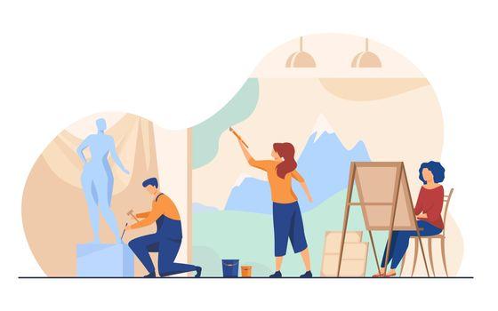 Artists creating artworks flat vector illustration