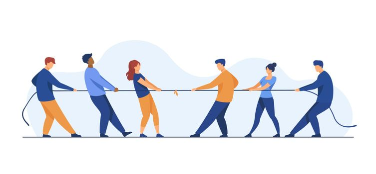 People pulling opposite ends of rope flat vector illustration
