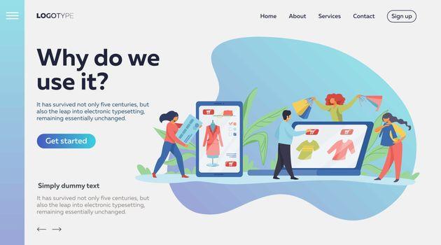 People making online purchases. Shopping, internet, sale flat vector illustration. Online shopping concept for banner, website design or landing web page