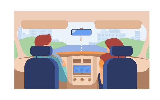 Couple riding vehicle