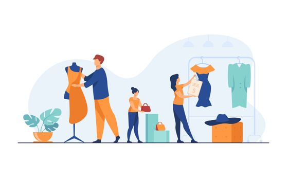 Designers organizing salesroom in boutique. People wrapping mannequin in fabric, hanging clothes and price on rack. Vector illustration for clothes production, fashion house, tailor shop concept