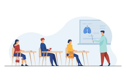 Medical professor presenting organ infographics to audience. College students listening to lecture in classroom. Vector illustration for school, class, lesson, studying, education concept
