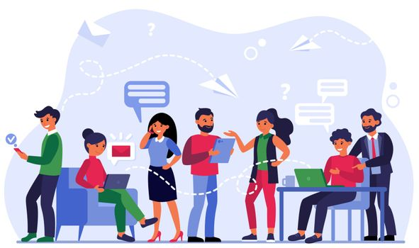 People communicating via social media
