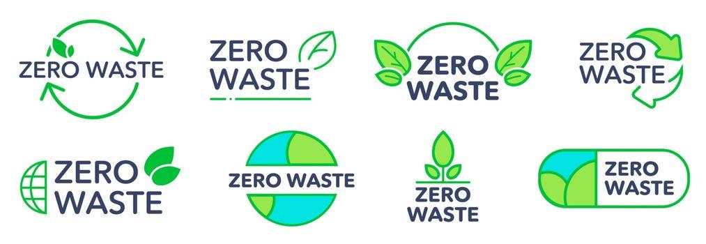 Zero waste eco friendly logos set