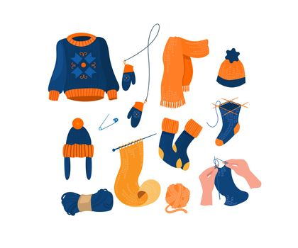 Warm knitted accessory and clothes set