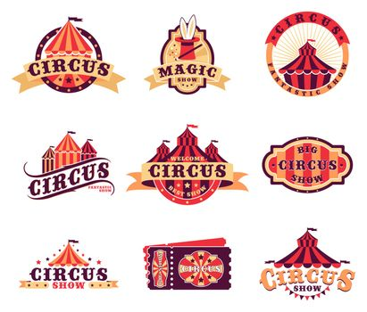 Circus logo and stickers set