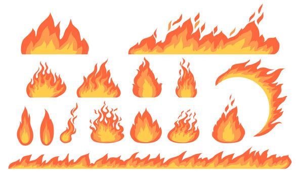 Cartoon fire flames flat vector collection