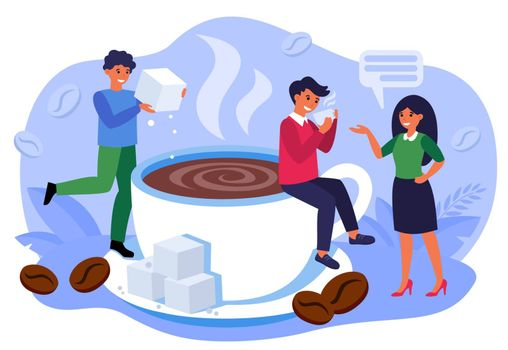 Coffee shop concept. Office people drinking black hot steaming coffee, talking, smiling among ceramic mug and coffee beans. Barista adding sugar to cup of espresso. Flat vector illustration